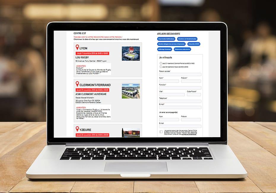 Mini-site d'inscription aux Rencontres Toshiba