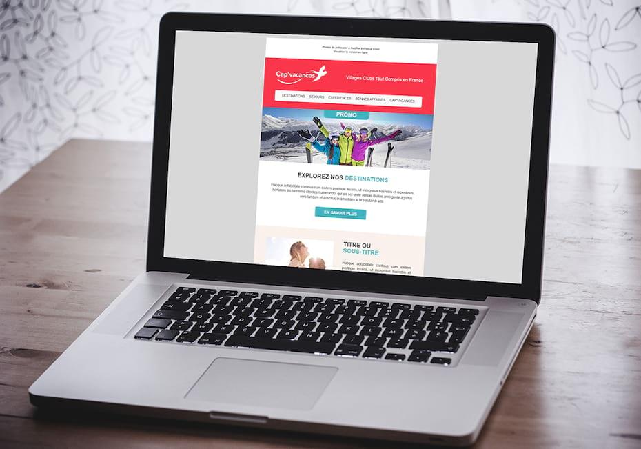 Email Cap'vacances sur laptop