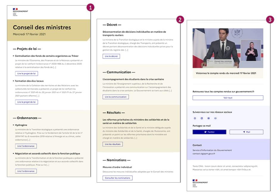 Template email Responsive Design Conseil des Ministres