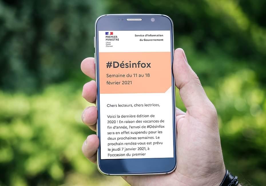 Newsletter Desinfox sur smartphone