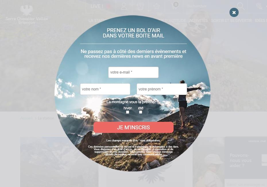 Pop-in promouvant la newsletter de l'office de tourisme Serre Chevalier