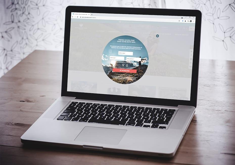 Présentation du pop-in Newsletter sur ordinateur